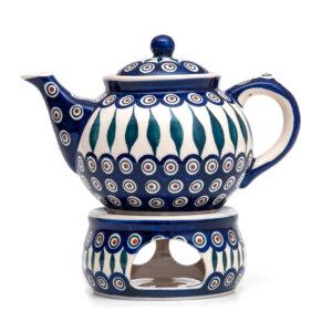 Bunzlauer Keramik Kanne mit Stövchen 1.3 Liter Dekor 54 Handarbeit