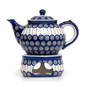 Bunzlauer Keramik Kanne mit Stövchen 1.3 Liter Dekor 54A Handarbeit