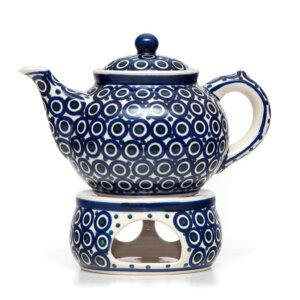 Bunzlauer Keramik Kanne mit Stövchen 1.3L Dekor 58 Handarbeit
