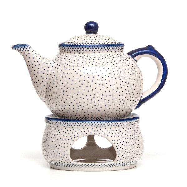Bunzlauer Keramik Kanne mit Stövchen 1.3 Liter Dekor 61A Unikat Handarbeit