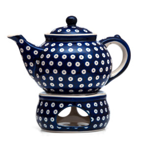 Bunzlauer Keramik Kanne mit Stövchen 1.3 Liter Dekor 70A Handarbeit