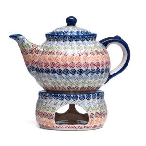 Bunzlauer Keramik Kanne mit Stövchen 1.3 Liter Dekor AS37 Unikat Modern Handarbeit