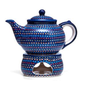 Bunzlauer Keramik Kanne mit Stövchen 1.3L IZ20 Unikat signiert