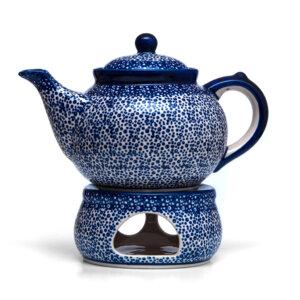 Bunzlauer Keramik Kanne mit Stövchen 1.3L Dekor MAGM Handarbeit