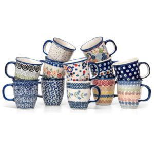 Bunzlauer Keramik Becher Tassen 300 ml 12er Set Handarbeit