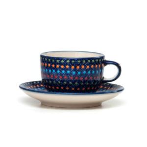 Bunzlauer Keramik Tasse mit Untertasse 200ml IZ20 Unikat Modern signiert