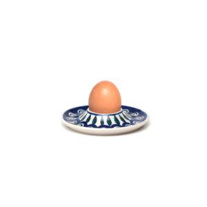 Bunzlauer Keramik Eierbecher flach mit Unterteller Dekor 54