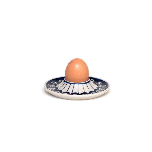 Bunzlauer Keramik Eierbecher flach mit Unterteller Dekor 54A