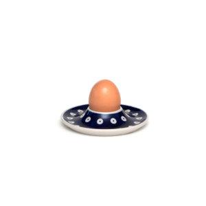 Bunzlauer Keramik Eierbecher flach mit Unterteller Dekor 70A