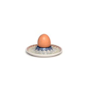 Bunzlauer Keramik Eierbecher flach mit Unterteller AS37 Unikat Modern