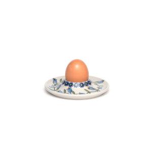 Bunzlauer Keramik Eierbecher flach mit Unterteller Dekor ASD