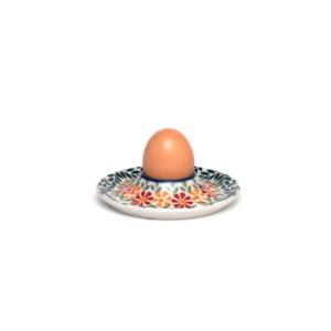 Bunzlauer Keramik Eierbecher flach mit Unterteller Dekor JS14