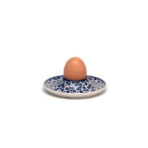 Bunzlauer Keramik Eierbecher flach mit Unterteller Dekor MAGD