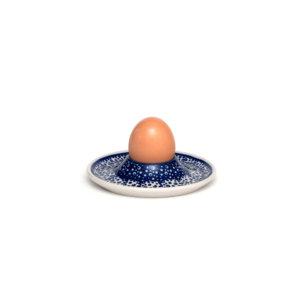 Bunzlauer Keramik Eierbecher flach mit Unterteller Dekor MAGM