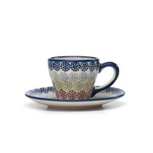 Bunzlauer Keramik Espressotasse mit Untertasse 70ml AS37 Unikat Modern