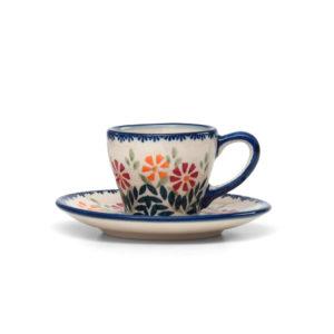 Bunzlauer Keramik Espressotasse mit Untertasse 70ml Dekor JS14