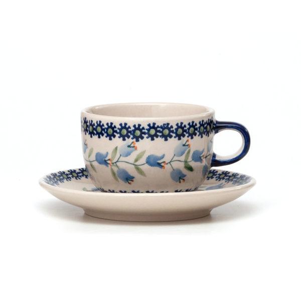 Bunzlauer Keramik Tasse mit Untertasse 200ml Dekor ASD