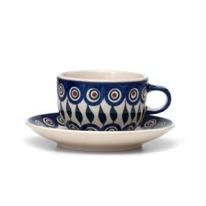 Bunzlauer Keramik Tasse mit Untertasse 200ml Dekor 54