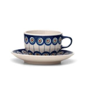 Bunzlauer Keramik Tasse mit Untertasse 200ml Dekor 54A