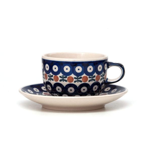 Bunzlauer Keramik Tasse mit Untertasse 200ml Dekor 70