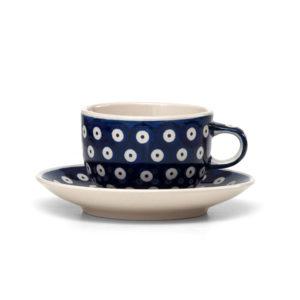 Bunzlauer Keramik Tasse mit Untertasse 200ml Dekor 70A