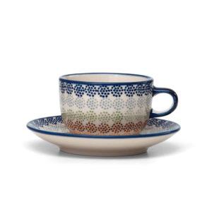 Bunzlauer Keramik Tasse mit Untertasse 200ml AS37 Unikat Modern