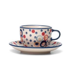Bunzlauer Keramik Tasse mit Untertasse 200ml AS38 Unikat Modern