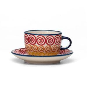 Bunzlauer Keramik Tasse mit Untertasse 200ml CMZK Unikat Modern