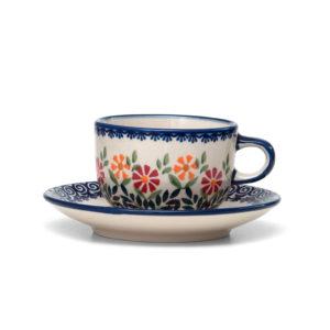 Bunzlauer Keramik Tasse mit Untertasse 200ml Dekor JS14