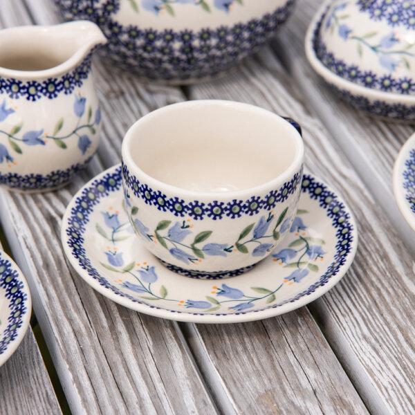 Bunzlaur Keramik Tasse mit Unterteller Dekor ASD