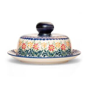 Bunzlauer Keramik Käseglocke mit Deckel 21cm Frischhalteglocke 2tlg. Dekor JS14