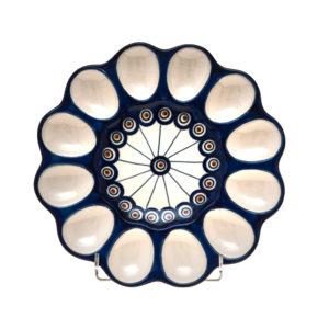 Bunzlauer Keramik Eierplatte, Eierteller 26cm Dekor 54A Handarbeit