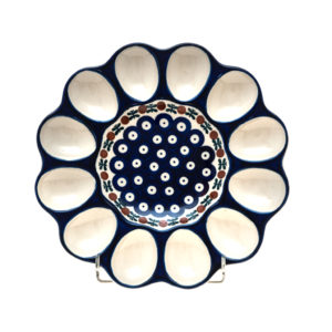 Bunzlauer Keramik Eierplatte, Eierteller 26cm Dekor 70 Handarbeit