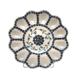 Bunzlauer Keramik Eierplatte, Eierteller 26cm Dekor ASD Handarbeit