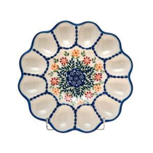 Bunzlauer Keramik Eierplatte, Eierteller 26cm Dekor JS14 Handarbeit