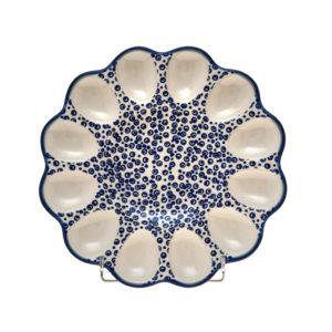 Bunzlauer Keramik Eierplatte, Eierteller 26cm Dekor MAGD Handarbeit