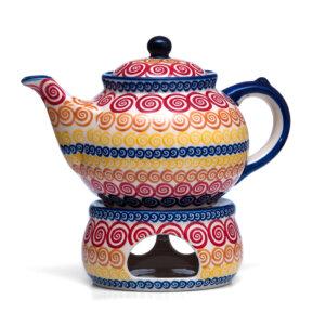 Bunzlauer Keramik Kanne mit Stövchen 1.3 Liter Dekor CMZK Unikat Modern Handarbeit