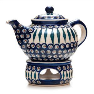 Bunzlauer Keramik Kanne mit Stövchen 2,0 Liter Dekor 54 Handarbeit