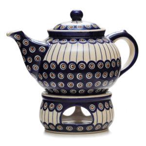 Bunzlauer Keramik Kanne mit Stövchen 2,0 Liter Dekor 54A Handarbeit