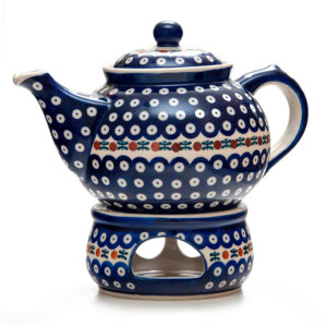 Bunzlauer Keramik Kanne mit Stövchen 2,0 Liter Dekor 70 Handarbeit