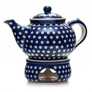 Bunzlauer Keramik Kanne mit Stövchen 2,0 Liter Dekor 70A Handarbeit