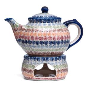 Bunzlauer Keramik Kanne mit Stövchen 2,4 Liter Dekor AS37 Unikat Modern Handarbeit