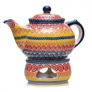 Bunzlauer Keramik Kanne mit Stövchen 2,0 Liter Dekor CMZK Unikat Modern