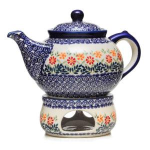 Bunzlauer Keramik Kanne mit Stövchen 2,0 Liter Dekor JS14 Handarbeit