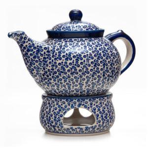 Bunzlauer Keramik Kanne mit Stövchen 2,0 Liter Dekor MAGD Handarbeit