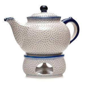 Bunzlauer Keramik Kanne mit Stövchen 2,0 Liter Dekor 61A Unikat Handarbeit