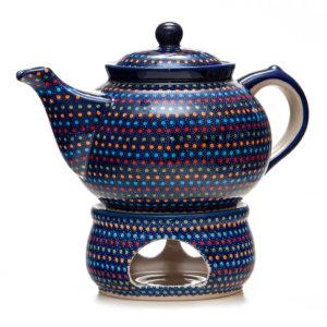 Bunzlauer Keramik Kanne mit Stövchen 2,0 Liter IZ20 Unikat Modern signiert