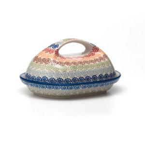 Bunzlauer Keramik Butterdose oval Dekor AS37 Unikat Modern