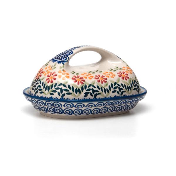 Bunzlauer Keramik Butterdose oval Dekor JS14