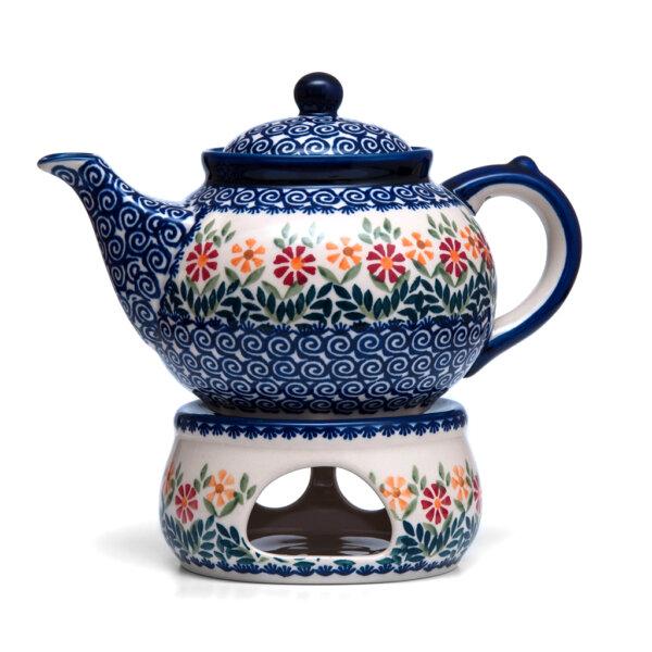 Bunzlauer Keramik Kanne mit Stövchen 1.3 Liter Dekor JS14 Handarbeit